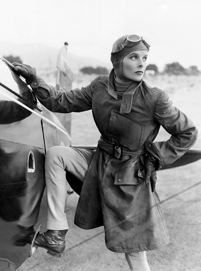 Actress Katharine Hepburn as Aviatrix